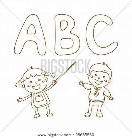Illustration of Kids Holding Giant Letters abc