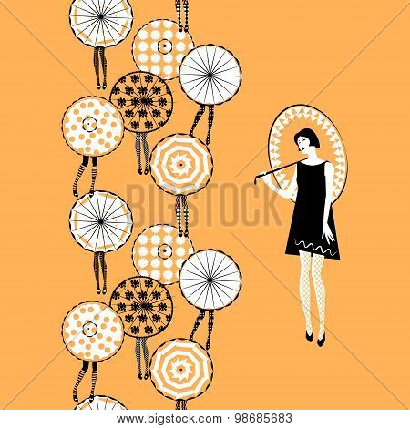 Girl With Umbrella. Retro Style. Seamless Background Pattern.