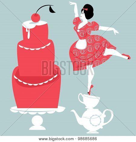 Plump Woman Decorating Cake.