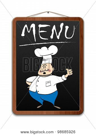 Blackboard With Menu Inscription And Illustrated Chef, Vector