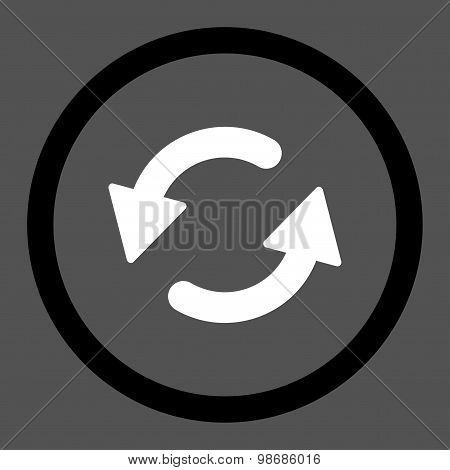 Refresh Ccw flat black and white colors rounded raster icon
