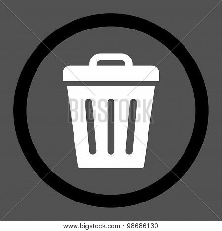 Trash Can flat black and white colors rounded raster icon