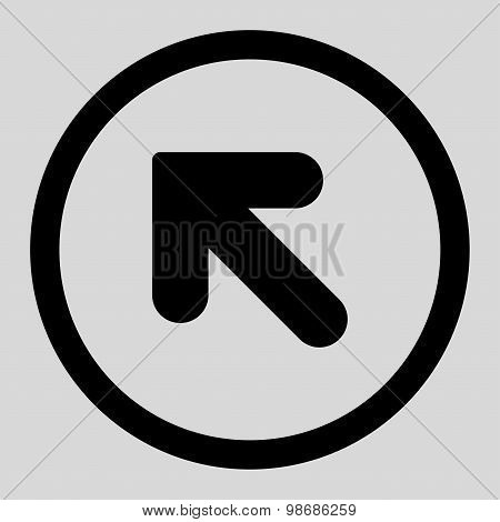 Arrow Up Left flat black color rounded raster icon