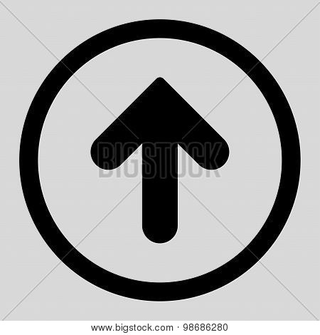 Arrow Up flat black color rounded raster icon