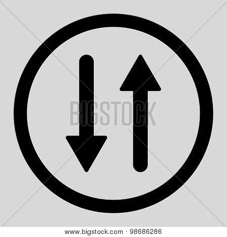 Arrows Exchange Vertical flat black color rounded raster icon