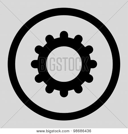 Gear flat black color rounded raster icon