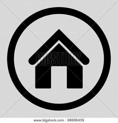 Home flat black color rounded raster icon