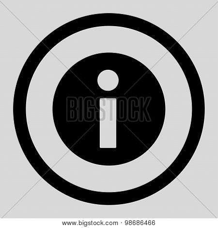 Information flat black color rounded raster icon