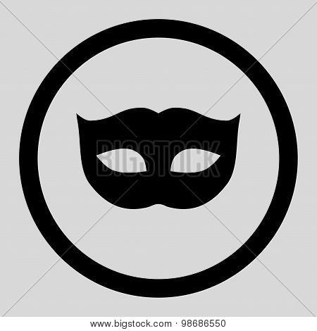 Privacy Mask flat black color rounded raster icon
