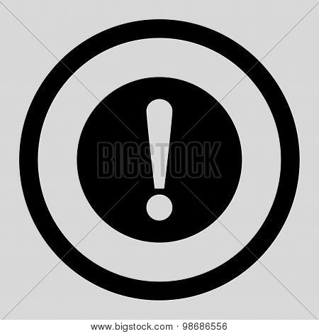 Problem flat black color rounded raster icon