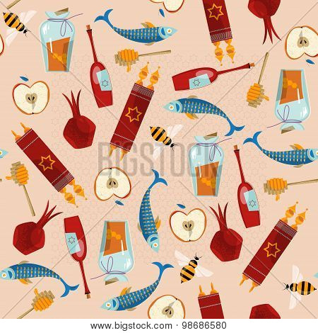 Happy Rosh Hashanah. Jewish New Year. Seamless Background Pattern.