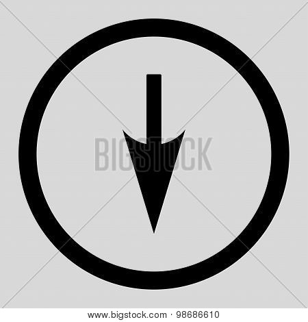 Sharp Down Arrow flat black color rounded raster icon
