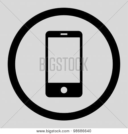Smartphone flat black color rounded raster icon