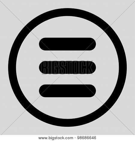 Stack flat black color rounded raster icon