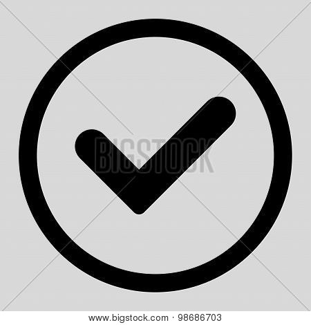 Yes flat black color rounded raster icon