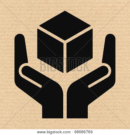 Handle With Care Sign On Cardboard, Vector Illustration
