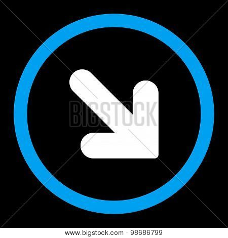Arrow Down Right flat blue and white colors rounded vector icon