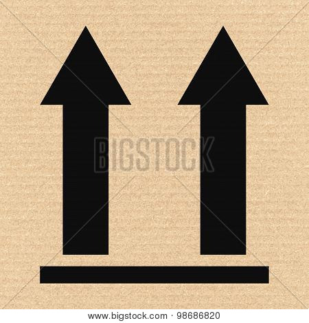 This Side Up Packaging Symbol On Cardboard, Vector Illustration