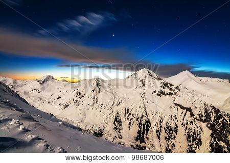 Winter Mountain in the Night