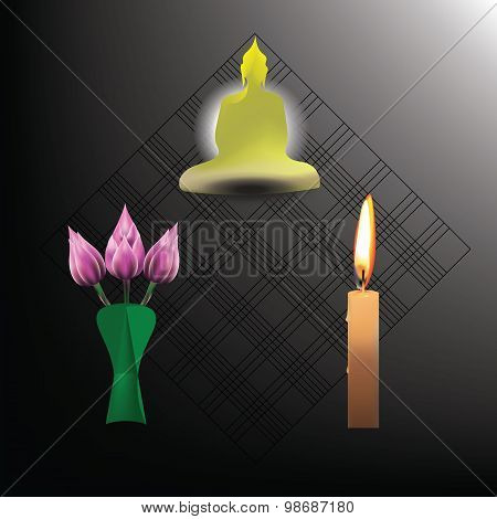 Buddhist Sabbath With Candle Light And Lotus Buquete