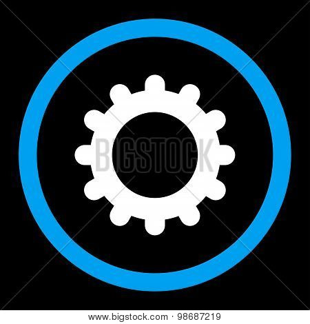 Gear flat blue and white colors rounded vector icon