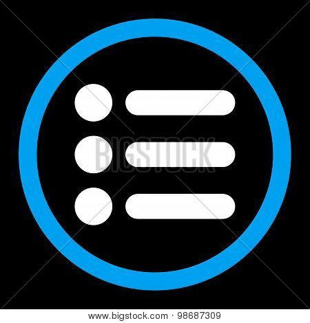 Items flat blue and white colors rounded vector icon