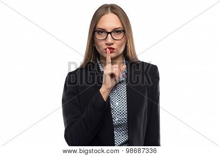 Image of businesswoman showing silence in glasses