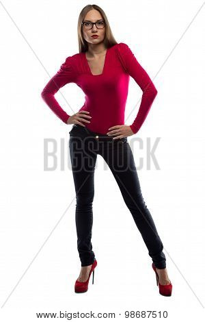 Photo of woman leaned aside, full length