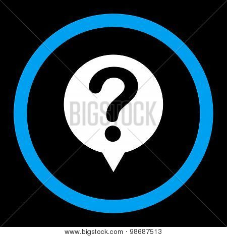 Status flat blue and white colors rounded vector icon