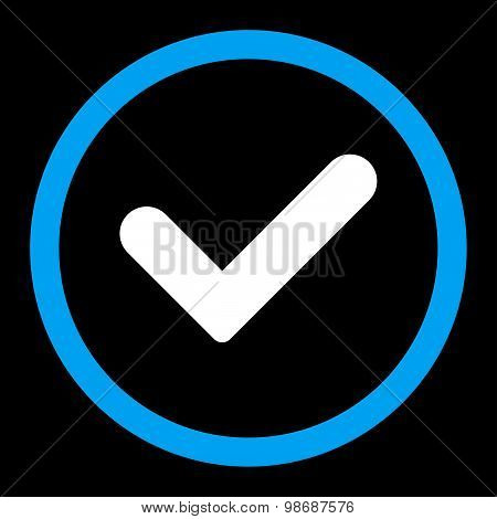 Yes flat blue and white colors rounded vector icon