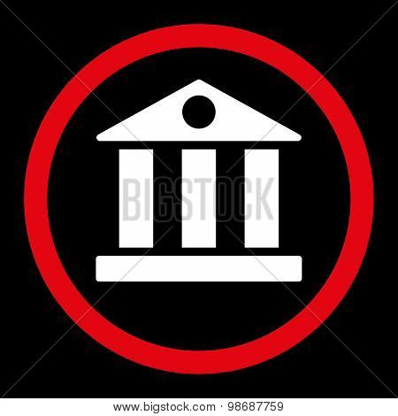 Bank flat red and white colors rounded vector icon
