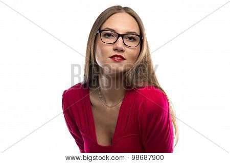 Photo of woman in red leaned forward