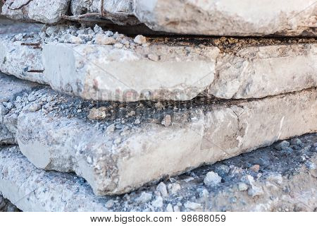 Old And Damaged Concrete Blocks.