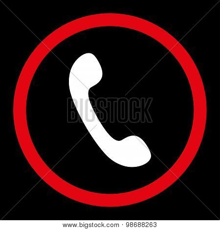 Phone flat red and white colors rounded vector icon