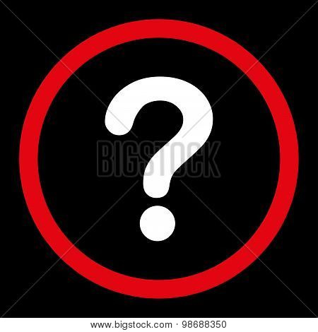 Question flat red and white colors rounded vector icon