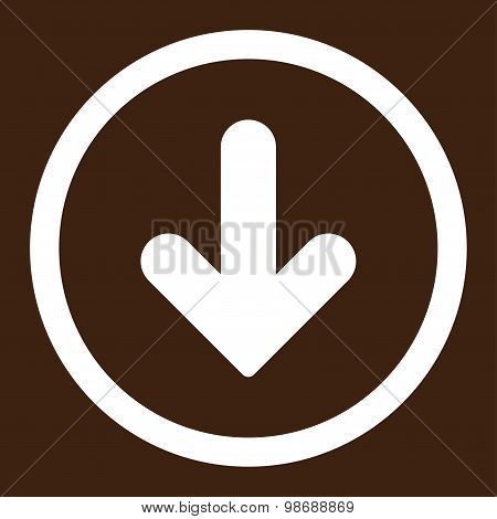 Arrow Down flat white color rounded vector icon