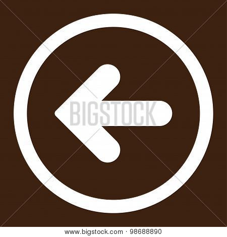 Arrow Left flat white color rounded vector icon