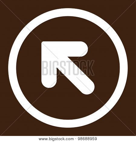 Arrow Up Left flat white color rounded vector icon
