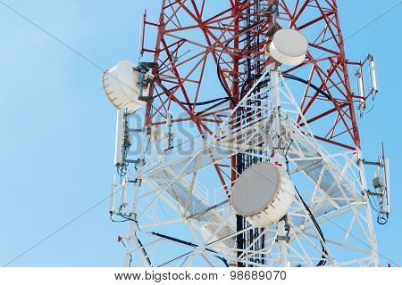 Satellite Dish Telecom Tower On Blue Sky Background