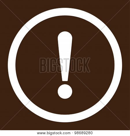 Exclamation Sign flat white color rounded vector icon