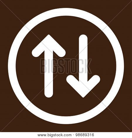Flip flat white color rounded vector icon