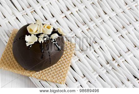 Round Chocolate Dessert,  With White Chocolate Chips