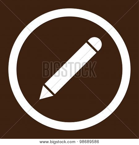 Pencil flat white color rounded vector icon