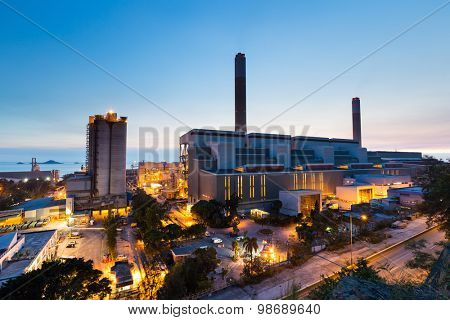 Glow light of petrochemical industry during sunset