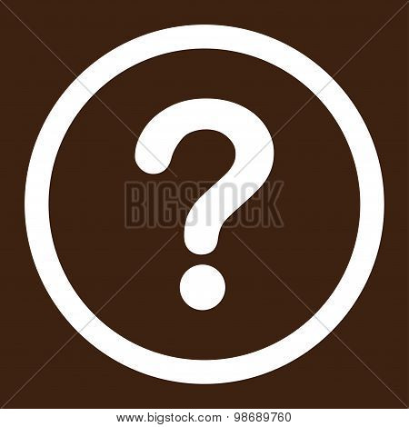 Question flat white color rounded vector icon