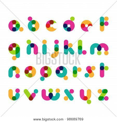 Colorful Round Modern Font Symbols. Latin Decorative Alphabet. Vector Logo Design Template