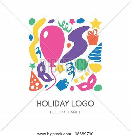 Multicolor Hand Drawn Festival, Party Or Carnival Logo. Vector Icons Set.