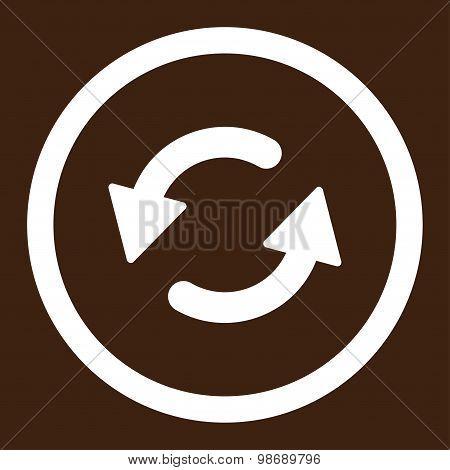 Refresh Ccw flat white color rounded vector icon