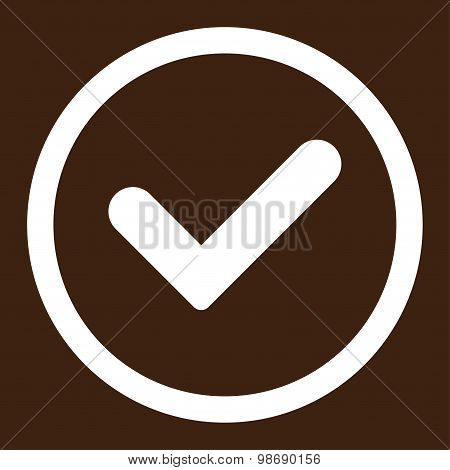 Yes flat white color rounded vector icon