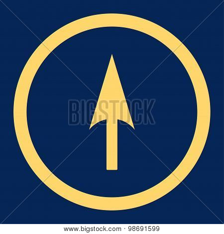 Arrow Axis Y flat yellow color rounded vector icon